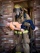 Fire fighter rescuing child