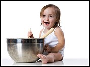 baby girl and a mixing bowl