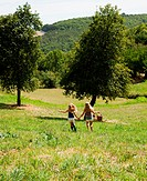 Two girls holding hands in field