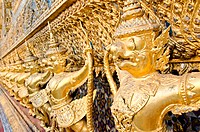 Golden Garuda statues at Wat Phra Kaew Temple of the Emerald Buddha in Thailand