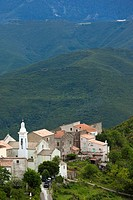 France, Corsica, Haute-Corse Department, Central Mountains Region, Le Bozio Area, Erbajolo, elevated town view