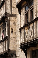 France, Normandy Region, Calvados Department, Bayeux, rue St-Martin street, half-timbered house detail