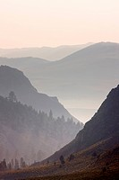 Hazy View of Sierra Nevada Ridges in Eastern California