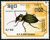 Cambodia,post mark,1988 year,stamp,insects,beetle,nature