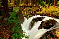Sol Duc Falls and hiking bridge in Olympic National Park, Washington.