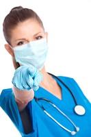 medical doctor indicates finger