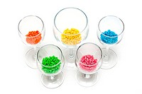 Transparent glasses with colour sweetmeat