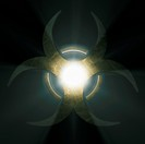 Illuminated biohazard symbol.