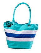 turquoise striped beach bag