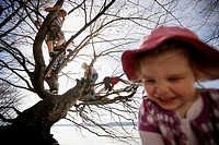 Children playing along the lakeshore, climbing a tree, Leoni castle grounds, Leoni, Berg, Lake Starnberg, Bavaria, Germany
