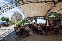 People at restaurant on middle station of Sugar Loaf mountain Sky Gondola cable car, Rio de Janeiro, Rio de Janeiro, Brazil, South America