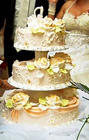 Beautiful wedding cake at a wedding reception