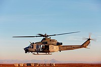 A U.S. Marine Corps UH_1Y ´Yankee´ Venom helicopter launches from Camp Bastion, Helmand Province, southern Afghanistan.