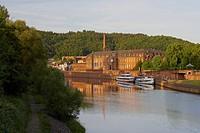 Former Benedictine monastery in the evening light, Villeroy &amp, Boch, Erlebniszentrum Villeroy &amp, Boch, Mettlach, Saarland, Germany, Europe