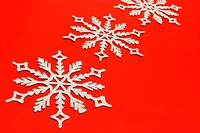 The big snowflake on a red background
