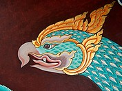 Vintage traditional Thai style art painting on temple for background.