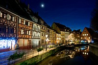 Historic quarter in winter, Reflection in the river, Colmar, Alsace, France