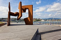 Sculpture of Jorge Oteiza at the Paseo Nuevo, promenade in San Sebactian, Donostia, San Sebastian, Basque Country, Spain