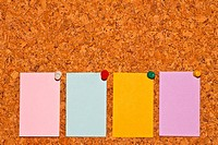 papers on cork board