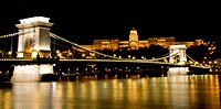 Night view of Buda Castle and Chain Bridge