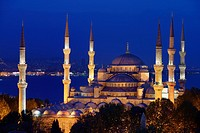 Six minarets of the Blue Mosque lit at twilight on the Bosphorus Sultanahmet Istanbul Turkey