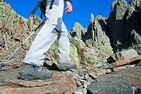 Mountaineers walking to Los Galayos, in Sierra de Gredos Regional Park, Ávila  Castilla y León  Spain