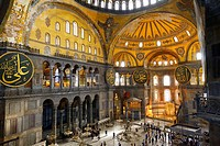 Golden Apse or Qiblah wall inside the Hagia Sophia with wood pendants and Seraphim face