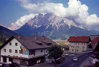 View of Zugspitze Mountain Peak, Germany, from Hotel, Lermoos, Austria, 1950's