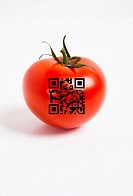 Close_up of tomato with QR bar code over white background