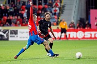 Daniel Kolar Pilsen, left and Domingo Cisma Atletico during Europa League Group B soccer match FC Viktoria Plzen vs Atletico Madrid in Pilsen, Czech R...