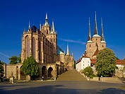 St Marys Cathedral and St. Severus Church at Domplatz, Erfurt, Thuringia, Germany