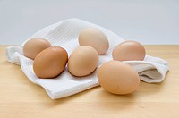 Six fresh eggs on a wooden table top