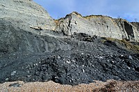 Black Ven landslide on beach between Lyme Regis and Charmouth along the Jurassic Coast, Dorset, southern England, UK
