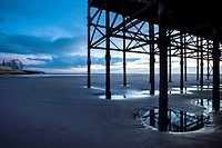 England, Lancashire, Blackpool  Underneath the Blackpool South Pier, looking towards the Blackpool Pleasure Beach
