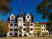 Town Hall on the Market Square in Saalfeld, Thuringia, Germany