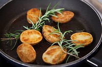 Rosemary potatoes in pan
