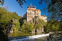 Kriebstein Castle in the valley of Zschopau River, Saxony, Germany
