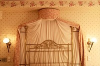 Canopy bed, in a room in Sevilla, Dona Maria hotel, inside, Seville, Andalusia, Spain