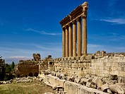 Columns of the Temple of Jupiter in ancient city of Baalbek, Lebanon, Middle East