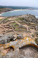 Ruins of the human settlement of Castro de Baroña, near of Porto do Son, A Coruña province, Galicia, Spain.