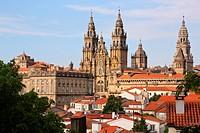 Cathedral from Alameda park, Santiago de Compostela, A Coruña province, Galicia, Spain.