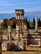 Lebanon Mountains and tetrapylon of the ancient city Anjar, also Haoush Mousa, Lebanon, Middle East