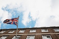 The British flag flying outside Harley street clinic in London