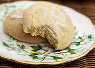 Lemon Cookies On A China Plate, British Columbia Canada