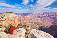Female Tourist Hiker, Walhalla overlook, North Rim, Grand Canyon National Park, Arizona, USA
