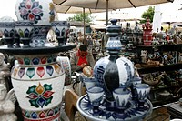 Craft market near Sao Francisco de Assis church, Ouro Preto, Minas Gerais, Brazil, South America