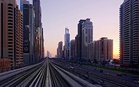 Metro on Sheikh Zayed Road, Dubai, United Arab Emirates