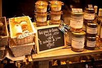 Showcase of French canned foods, goose liver and goose products, Sarlat-la Canéda, Perigord, Dordogne, France, Eruopa