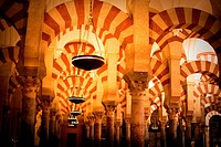 Interior of the Great Mosque Mezquita and cathedral, UNESCO World Heritage Site, Cordoba