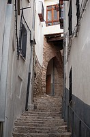 Narrow street with arch, Morella, Castellon, Valencia